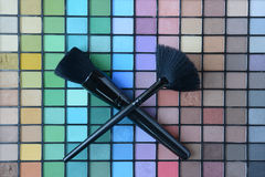 Set of professional make-up brushes with the Pallette of shadows Royalty Free Stock Image