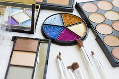 set of professional make up products stock photo