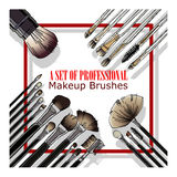 Set of professional makeup brushes Royalty Free Stock Photography