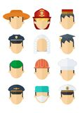 Set of professional mans hats. Set of hats of different professions. Work wear and uniform element icons. Objects isolated on white background. Flat cartoon Royalty Free Stock Photos