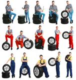 Set with professional mechanic and car tires. On white background stock image