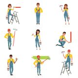 Flat vector set of painters with equipment brush, roller, bucket with paint, step folding ladder. Men and women in blue. Set of professional painters with vector illustration