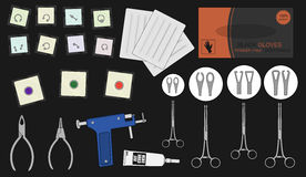 Set of professional piercing equipment. Color Stock Image
