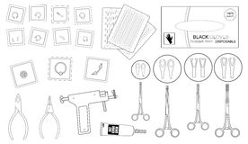Set of professional piercing equipment. Contour Stock Photography