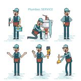 Set of professional plumbers repairing the broken home facilities, washbasin, toilet, cabin, washing machine, radiator. Clog of pipes. Plumbing service royalty free illustration