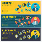 Set of professional repair worker banners. Stretch ceiling, carp royalty free illustration