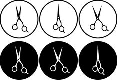 Set of professional scissors in round frame Stock Photo