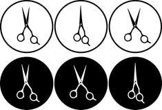 Set of professional scissors in round frame stock illustration