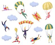 Flat vector set of professional skydivers. Extreme sport. Young wingsuit jumper. Active recreation. Skydiving theme. Set of professional skydivers. Extreme sport royalty free illustration