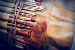 Set of professional vintage make up brushes and cosmetic Stock Photography