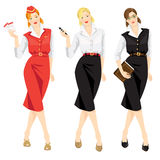 Set of professional woman. Isolated on white background. Woman in uniform. Stewardess holding ticket in her hand. Secretary or business woman holding mobile Royalty Free Stock Photos
