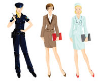 Set of professional woman. On white background. Woman in uniform. Professor or teacher, policewoman and doctor Stock Photos