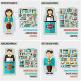 Set of professions. Anchorman, interviewer Royalty Free Stock Photos