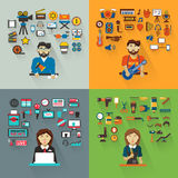 Set of professions.Anchorwoman, hairdresser Stock Photo