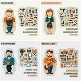 Set of professions. Barber, hairdresser, filmmaker Royalty Free Stock Images