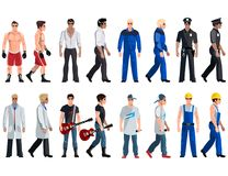 Set professions doctor, electrician, pilot, businessman, engineer, dancer, boxer, rapper. Royalty Free Stock Images