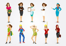 Set of 10 professions Stock Image
