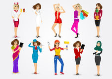 Set of 10 professions Stock Photos