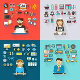 Set of professions. Graphic designer, babysitter. Set of professions  with equipment Stock Image
