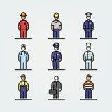 Set of professions icons avatar simple flat style illustration.  Royalty Free Stock Photo