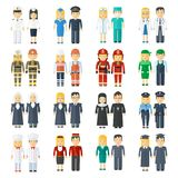 Set of professions. Set of 24 professions for men and women. Health, staff, service, police and firefighters. People in work clothes. Flat vector professional Stock Photos
