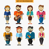 Set of professions. Meteorologist, musician Royalty Free Stock Photos