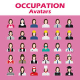 A set of professions people. Circle flat style icons. Occupation avatar. Business, medical, web, call center operator, workers. Vector illustration Royalty Free Stock Photography