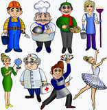 Set  professions people.Teacher builder cleaner cook hairdresser ballerina artist doctor  dancer. Royalty Free Stock Photo