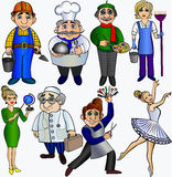 Set  professions people.Teacher builder cleaner cook hairdresser ballerina artist doctor  dancer. Royalty Free Stock Images