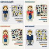 Set of professions. Photographer, meteorologist Stock Images