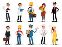 Set professions: waiter, doctor, electrician, florist, pilot, businessman, engineer, postman, cook, painter. Vector illustration i Stock Photography