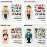 Set of professions. Yoga instructor, babysitter. Set of professions  with equipment Royalty Free Stock Photography