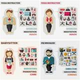 Set of professions. Yoga instructor, babysitter Royalty Free Stock Photography
