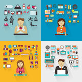 Set of professions. Yoga instructor, interviewer Stock Photography