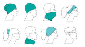 Set of profile faces. With different hats Royalty Free Stock Photography