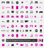 Set of programming stickers Stock Images