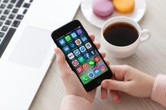 Set programs social networking on iPhone 7 Jet Black Onyx Stock Photos
