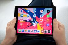 Set programs of social networking on the screen iPad Pro. Anapa, Russia - March 26, 2019: Set programs of social networking on the screen iPad Pro in man hands stock photos