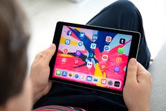 Set programs of social networking on the screen iPad Pro. Anapa, Russia - March 26, 2019: Set programs of social networking on the screen iPad Pro in man hands stock images