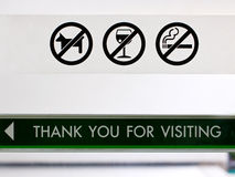 Set Of Prohibit Sign At Cafeteria's Door. Royalty Free Stock Images
