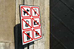 Set of prohibited activities when visiting museum. Icons of restriction Royalty Free Stock Photography
