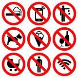 Set of Prohibited No Stop Sign Stock Image