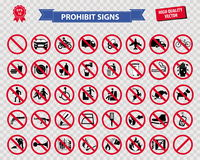 Set of prohibited sign Stock Photography