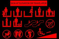 Set of Prohibited Sign at Escalator or Travelator vector illustration
