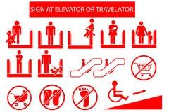 Set of Prohibited Sign at Escalator or Travelator royalty free illustration