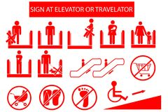 Set of Prohibited Sign at Escalator or Travelator Royalty Free Stock Photos