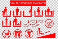Set of Prohibited Sign at Escalator or Travelator Stock Photo