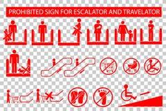 Set of Prohibited Sign at Escalator or Travelator Royalty Free Stock Photography