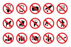 Set Prohibited Signs. Red icons. Vector. Set Prohibited Signs. Red icons. Illustration of various prohibition signs. Vector stock illustration