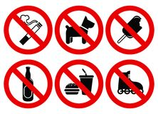 Set prohibited signs Royalty Free Stock Photo